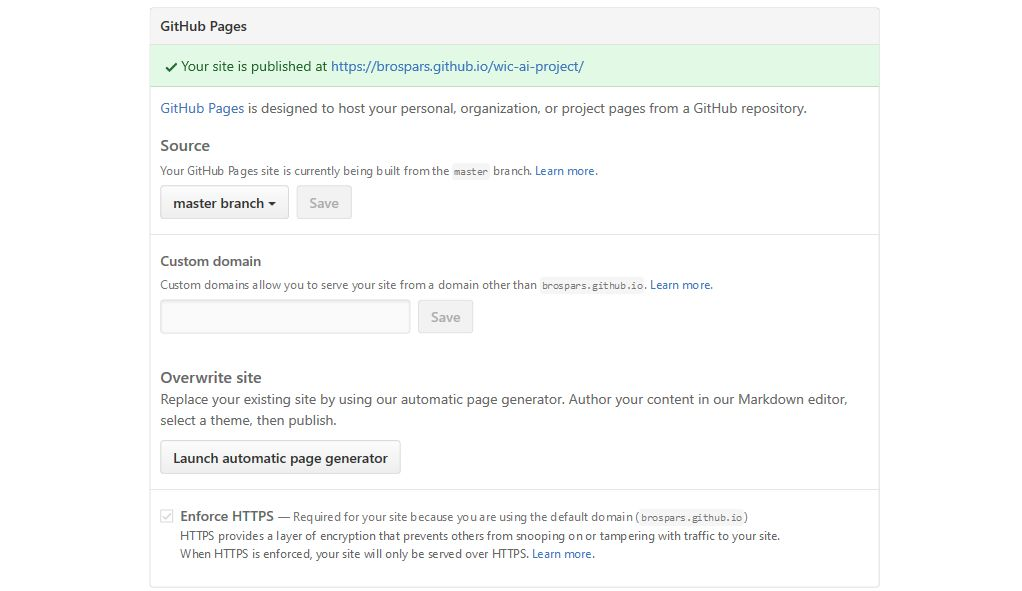 Settings gh-pages Github